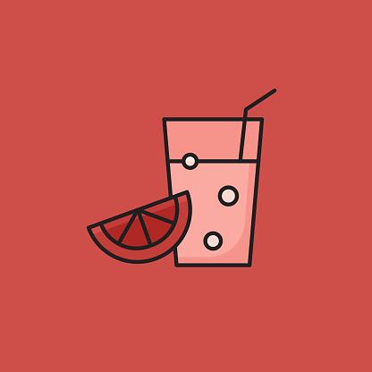 Flat Line Design Style Juice Icon, Outline Symbol Vector Illustration