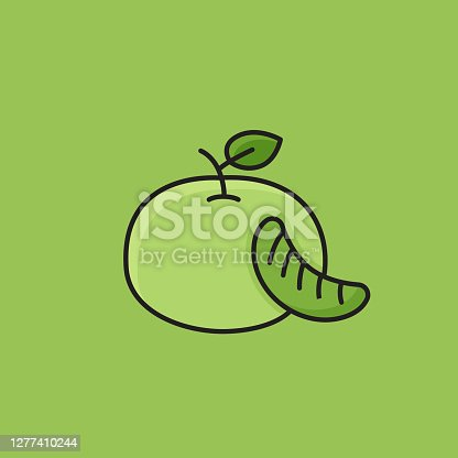 istock Flat Line Design Style Mandarin Icon, Outline Symbol Vector Illustration 1277410244
