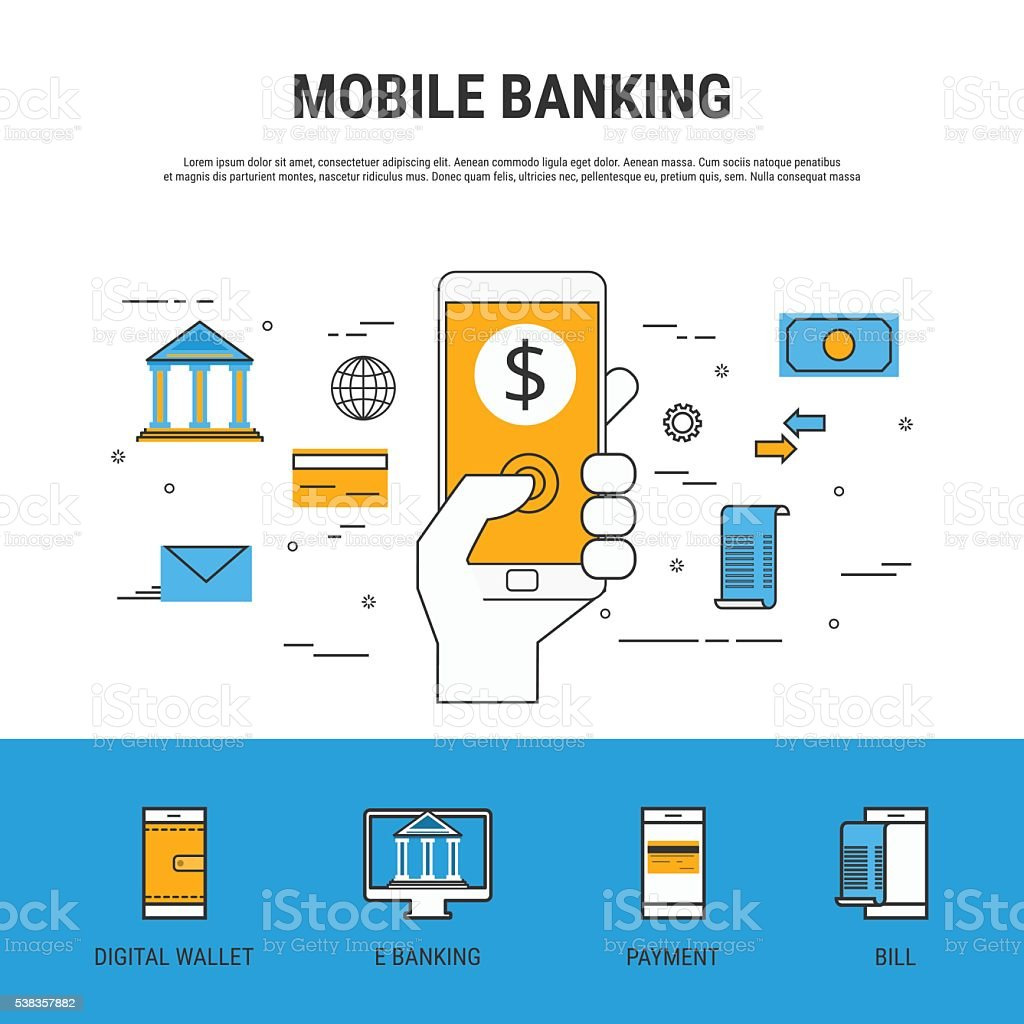 Flat line design style. Mobile banking concept. vector art illustration