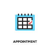 Flat line design style modern vector Appointment icon