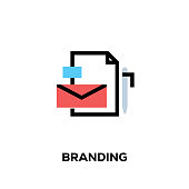 Flat line design style modern vector Branding icon