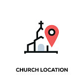 Flat line design style modern vector Church Location icon