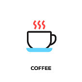 Flat line design style modern vector Coffee icon