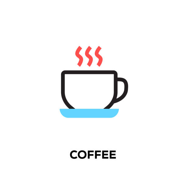 flat line design style modern vector coffee icon - coffee stock illustrations, clip art, cartoons, & icons