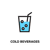 Flat line design style modern vector Cold Beverages icon