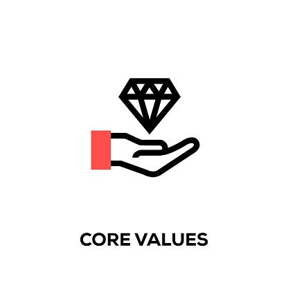 Flat line design style modern vector Core Values icon
