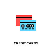 Flat line design style modern vector Credit Cards icon