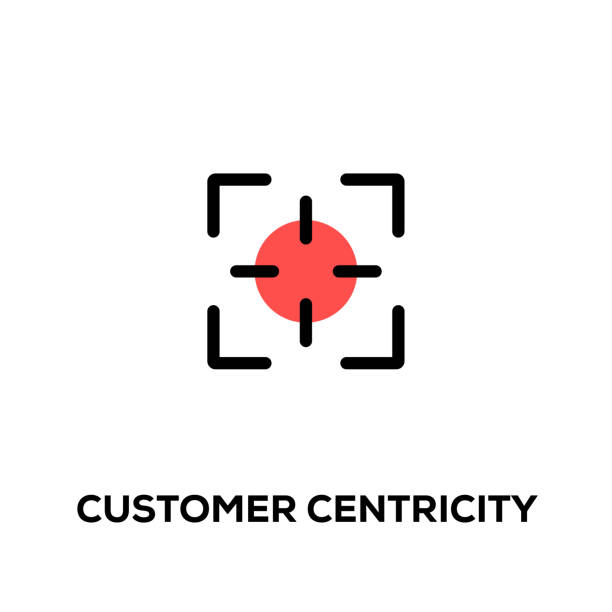 Flat line design style modern vector Customer Centricity icon Flat line design style modern vector Customer Centricity icon image focus technique stock illustrations