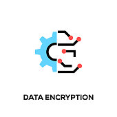 Flat line design style modern vector Data Encryption icon