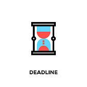 Flat line design style modern vector Deadline icon