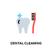 istock Flat line design style modern vector Dental Cleaning icon 1088950836