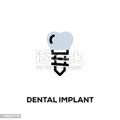 istock Flat line design style modern vector Dental Implant icon 1089297132