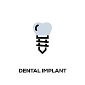 istock Flat line design style modern vector Dental Implant icon 1089297132