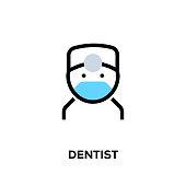 istock Flat line design style modern vector Dentist icon 1089647886