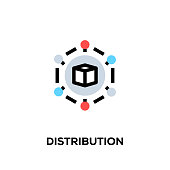 Flat line design style modern vector Distribution icon