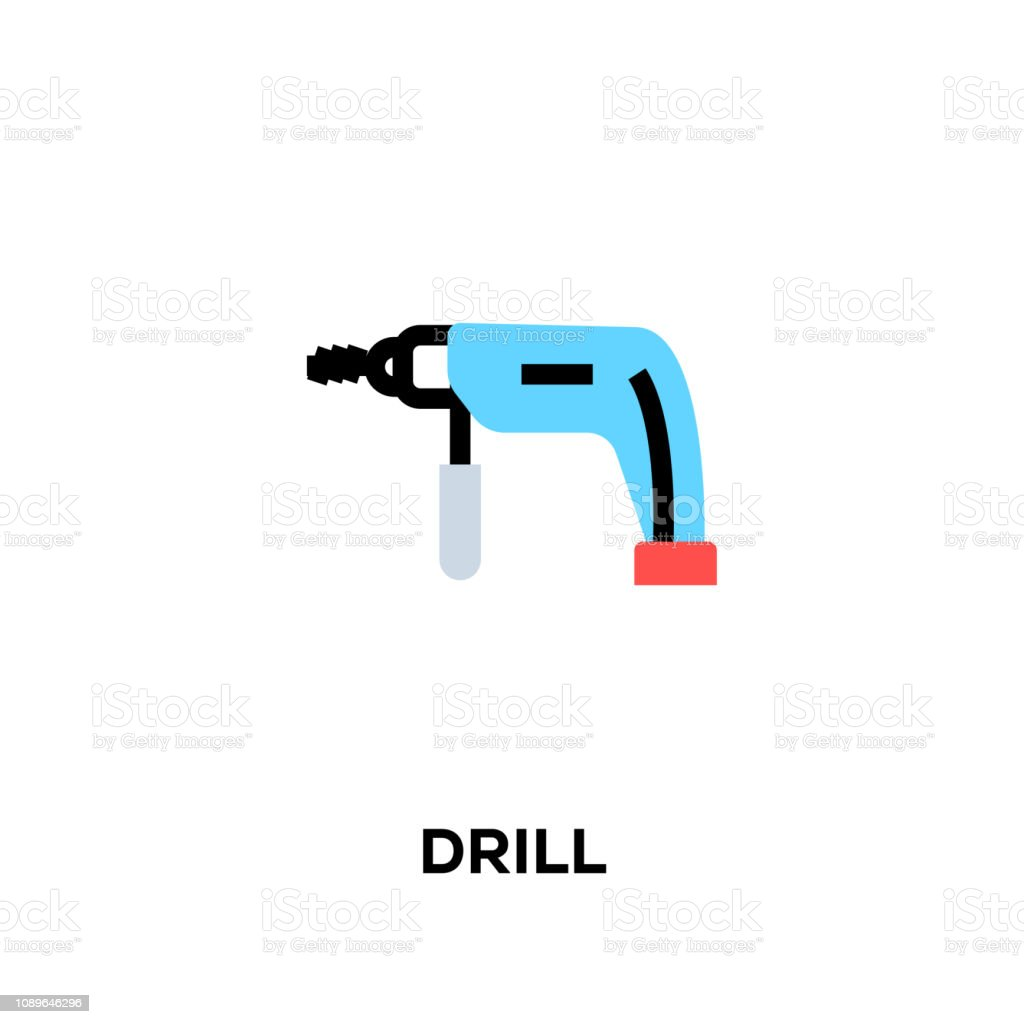 Flat Line Design Style Modern Vector Drill Icon Stock Illustration Download Image Now Istock