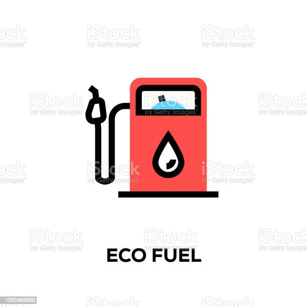 Flat Line Design Style Modern Vector Eco Fuel Icon Stock Illustration - Download Image Now