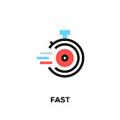 Flat line design style modern vector Fast icon