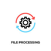 Flat line design style modern vector File Processing icon