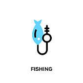 Flat line design style modern vector Fishing icon