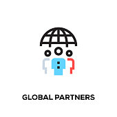 Flat line design style modern vector Global Partners icon