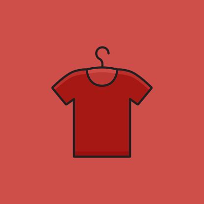 Flat Line Design Style T-Shirt Icon, Outline Symbol Vector Illustration