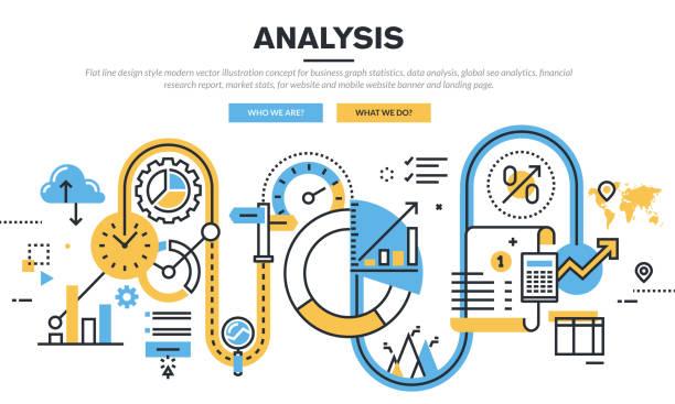 Flat line design vector illustration concept for business graph statistics vector art illustration