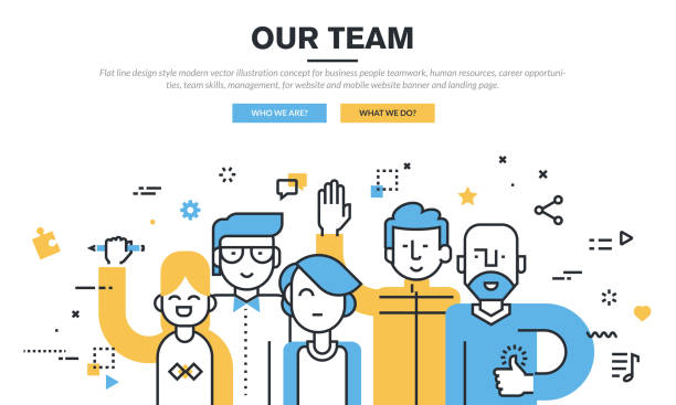 flat line design vector illustration concept for business people teamwork - business cv templates stock illustrations