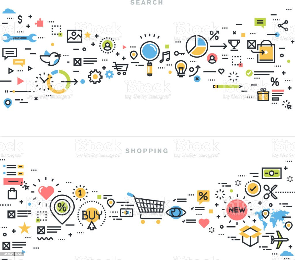 Flache Linie design Vektor-illustration Konzepte für Suche und Einkaufsmöglichkeiten – Vektorgrafik