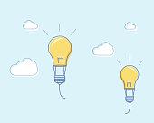 Flat line design vector illustration with flying lightbulbs like air balloons. Vector illustration for creativity freedom, innovation and imagination.