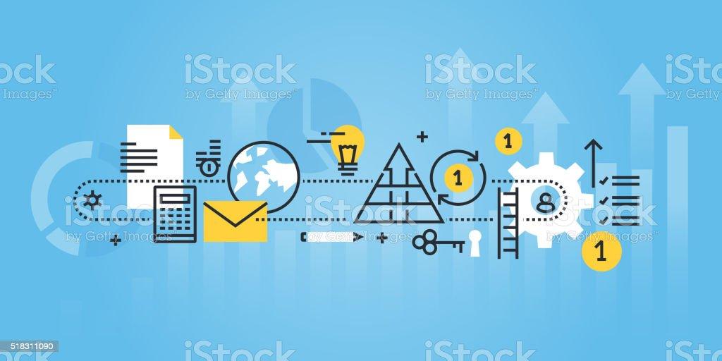 Flache Linie Gestaltung website-banner für Geschäft Prozess, Investitionen – Vektorgrafik