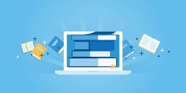 플랫 라인 디자인식 웹사이트 배너입니다 of e-러닝 - 서점 stock illustrations