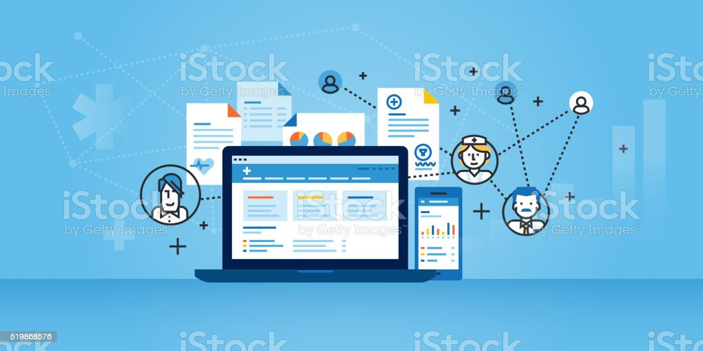 Flat line design website banner of health plan management solutions vector art illustration