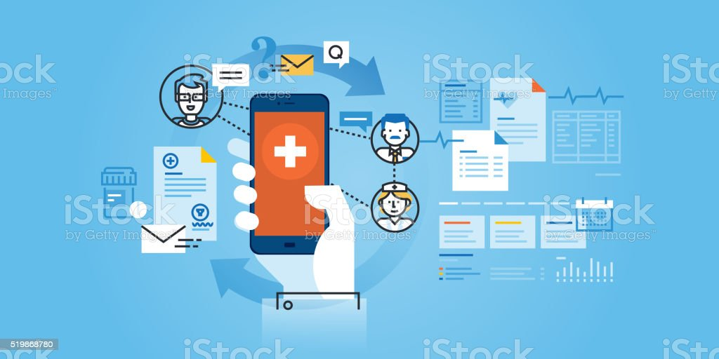 Flat line design website banner of healthcare mobile app vector art illustration