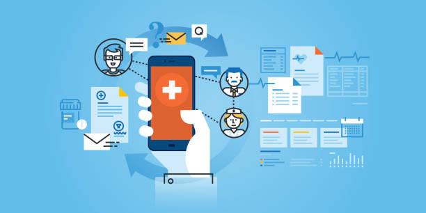 フラットラインデザインウェブサイトバナーのヘルスケアのモバイルアプリ - 医療機器点のイラスト素材/クリップアート素材/マンガ素材/アイコン素材