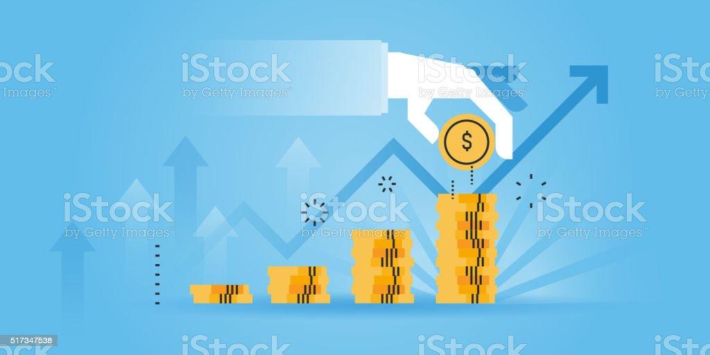 Flat line design website banner of investment vector art illustration