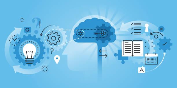 ilustrações de stock, clip art, desenhos animados e ícones de linha plana projeto web bandeira do processo de aprendizagem - active brain