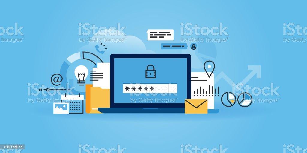 Flat line design website banner of online security, data protection