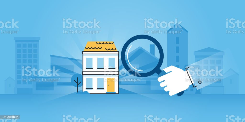 Flat line design website banner of real estate vector art illustration