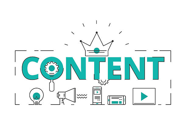 flat line design word content concept of content digital marketing - contented emotion stock illustrations