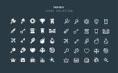 Set of fantasy RPG vector icons. Flat design & line editable stroke.