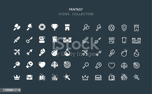 Set of fantasy RPG vector icons. Flat design & line editable stroke.