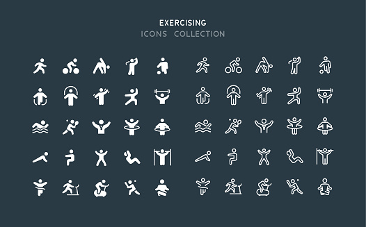 Flat & Line Fitness Sport Exercising Icons