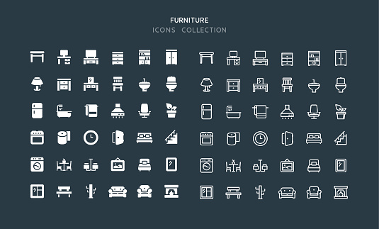 Flat & Line Furniture Icons