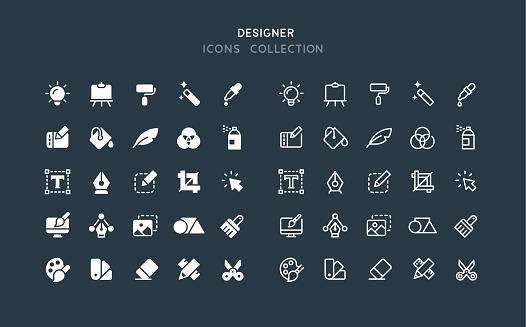 Flat & Line Graphic Designer Icons