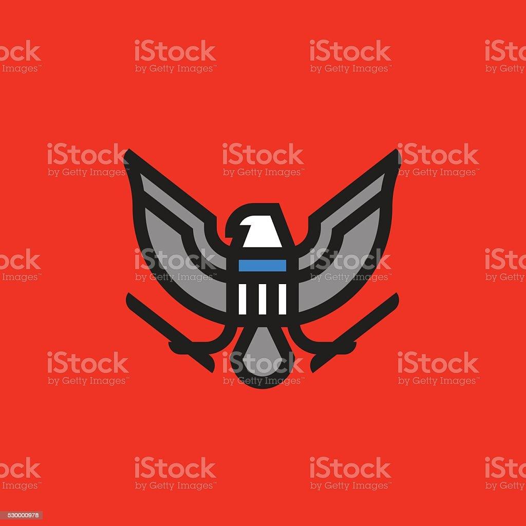 Línea plana Armería símbolo de estilizadas American águila con apantallamiento - ilustración de arte vectorial