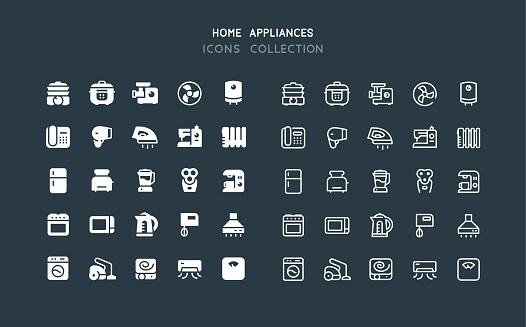 Flat & Line Home Appliances Icons