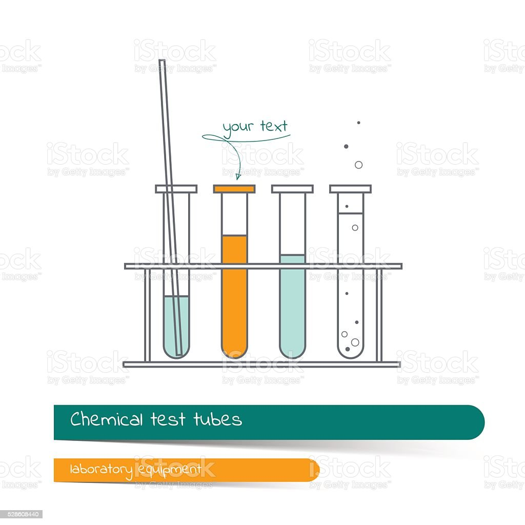 Flat line icon set of chemical test tubes vector art illustration