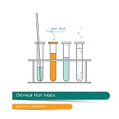 Flat line icon set of chemical test tubes