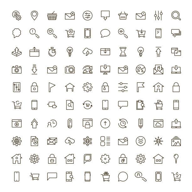 illustrations, cliparts, dessins animés et icônes de icône de la ligne plate - www